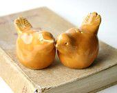 Porcelain Birds Salt & Pepper Shakers - Butternut Yellow - Kitchen Table Home Decor - OOAK Handmade Sculptures