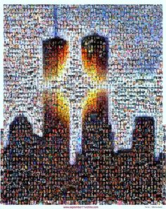 i found this in a google image search. this pic is made with pictures of those who died on 9-11. #9-11-2001 #tribute #NYC #twin #towers
