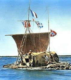 """The 1947 Kon-Tiki expedition, organized by Norwegian explorer Thor Heyerdahl. The 1947 expedition went across the Pacific Ocean from South America to the Polynesian islands. It was named after the Inca sun god, Viracocha, for whom """"Kon-Tiki"""" was said to be an old name."""