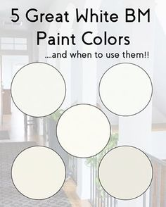 Our 5 Favorite Benjamin Moore Whites (and how to use them) - - We love white paint colors, and often get asked about our favorite whites. We put together a post with our favorites and how to use them. Neutral Paint Colors, Room Paint Colors, Interior Paint Colors, Paint Colors For Home, House Colors, Blanc Benjamin Moore, Benjamin Moore Paint, Benjamin Moore Simply White, White Dove Benjamin Moore Walls