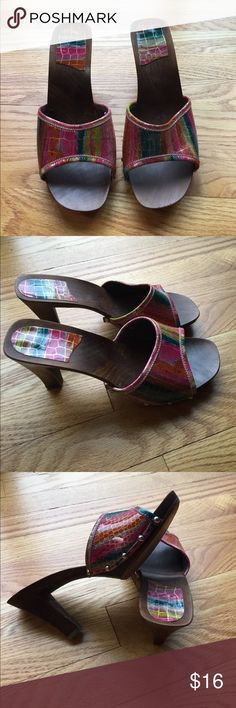 Fun summer heel Fun summer wood heel. Vibrant colors, comfortable, previously loved but still have lots of life to be had!!  Purchased these fun heels in the islands. Smoke/pet free home. Excepting all offers. Shoes Heels