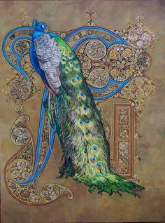 Majestic Splendour By Astrid Bruning - Peacock Art Nouveau Style Book Of Kells, Medieval Manuscript, Medieval Art, Medieval Books, Art Nouveau, Illuminated Letters, Illuminated Manuscript, Illustration Art, Illustrations