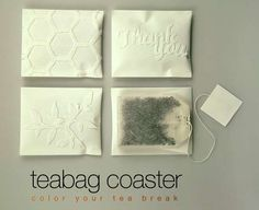Teabag Coasters Create Unique Pieces From Your Old Tea Bag #drinking trendhunter.com