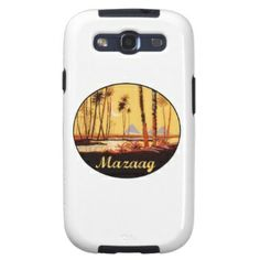 """Mazaag Vintage Day: """"Mazaag"""" is an Arabic word expressing pleasure. This design is of the Pyramids by the Nile River in Cairo, Egypt (Middle Eastern Arab Designs - Mobile Phone - Galaxy SIII Cases)"""