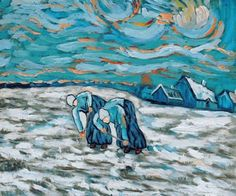 Vincent van Gogh - Peasant Women in Snowy Field