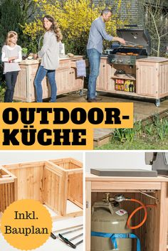 Bauplan Outdoorküche Is there anything better than spending your free time with family or friends enjoying freshly grilled and cool drinks in your own garden? Then quickly into the outdoor kitchen! Patio Kitchen, Outdoor Kitchen Design, Kitchen Decor, Kitchen Ideas, Outdoor Garden Bench, Outdoor Decor, Outdoor Furniture Plans, Property Design, Backyard Projects