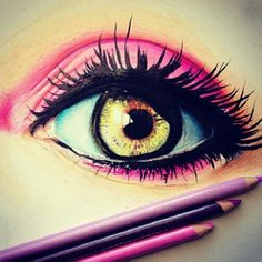 eye drawing with prismacolor colored pencils Amazing Drawings, Cool Drawings, Amazing Art, Art Drawings Beautiful, Beautiful Images, Awesome, Pencil Art, Pencil Drawings, Dibujos Tumblr A Color