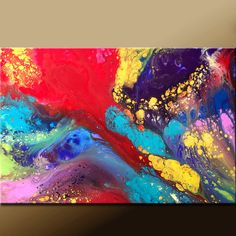Abstract Canvas Rainbow Art Painting 36x24 Original Modern Contemporary Art by Destiny Womack - dWo - When I Dream ON SALE