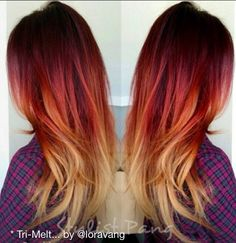 40 Burn Orange Hair Color For Fall Inspiration Cheveux Oranges, Sunset Hair, Red Ombre Hair, Fire Hair, Hair Color And Cut, Coloured Hair, Crazy Hair, Hair Highlights, Gorgeous Hair