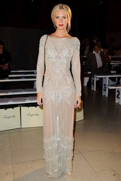 Sequin and sheer gown