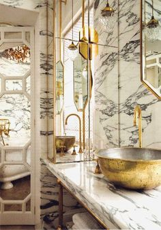 Gold Bowl Sinks, Eclectic, bathroom, The World of Interiors Art Deco Bathroom, Eclectic Bathroom, Gold Bathroom, Bathroom Interior Design, Modern Bathroom, Bathroom Taps, Marble Bathrooms, Bathroom Ideas, Luxury Bathrooms