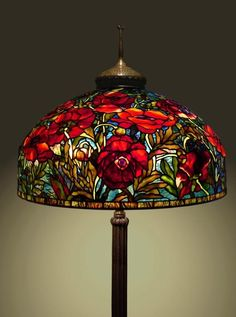 """2014 Online Art Glass Festival Lamps 1st Place """"26"""" Oriental Poppy"""" by Scott"""