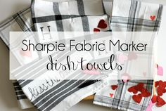Sharpie Fabric Markers to personalize dish towels from @marshalls A simple craft for any occasion.  Would make a great bridal shower gift or easy bridal shower game. #sharpies