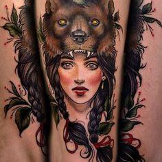 Lady Wolf Tattoo - http://16tattoo.com/lady-wolf-tattoo/