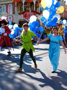 Peter and Wendy walkin' right down the middle of Main Street U.S.A.