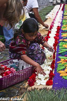 Manos de niña Confección de alfombras del Viernes Santo de 2011 en Antigua Guatemala