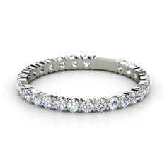 18K White Gold Ring with Diamond & Diamond  | Rich & Thin Band | Gemvara