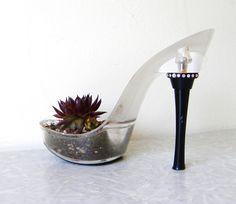 {Vamp. succulent planter: reclaimed stiletto} by giddyspinster.