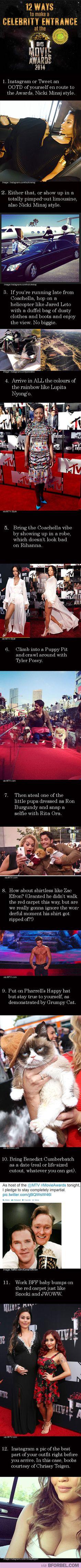 12 Ways To Make A Celebrity Entrance At The MTV Movie Awards 2014…