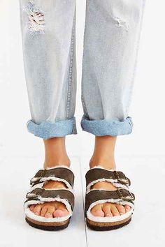 Birkenstock Arizona Shearling Mocha Suede Sandal - comfy!!
