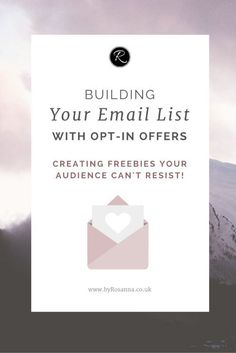 Building your email list with opt-in offers! I've covered: - What are opt-in offers? - What can I offer? - How do I create an opt-in offer? - How do I set up my opt-in offer to send?