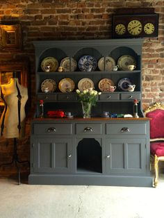 Stunning Antique Welsh Dresser Solid Pine Shabby Chic Dog Kennel Farmhouse Grey