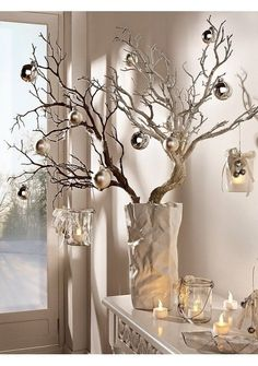 No Money Decorating: 15 Fabulous Branch Christmas Trees check out all the ideas here http://elenaarsenoglou.com/?p=6900