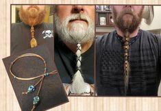 Beard Lacer, hair, dreadlocks, Brown with Metalic blue green skull beads with blueish green small beads. Beard Accessories, Viking Beard, Green With Blue, Gold Skull, Beaded Skull, Blue Eyes, Your Hair, Dreadlocks, Metal