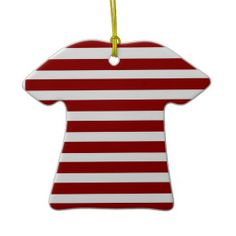 Red and White Horizontal Stripes Pattern Christmas Ornament SOLD on Zazzle