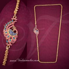 Peacock Design Side pendant Mugappu Ruby and Blue Sapphire Stones