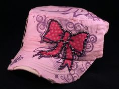 ★This is a High Quality Pink Cadet Cap! Its a Vintage Castro Cap/Military Hat with Distressed Visor, from Nyla. Its Embroidered with Pink Polka Dot Bow and has Jewels and Purple Print! [$12.97]