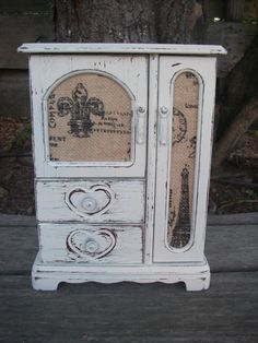 White Jewelry Box Off White Shabby Distressed French Paris