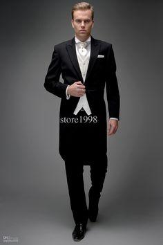 Wholesale Morning Style Groom Tuxedos Groomsmen Peak Collar Men Wedding Suits(JacketPantsTieWaistcoat)M137, Free shipping, $103.04-125.44/Piece | DHgate