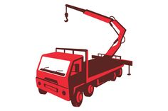 vector illustration of a truck mounted hydraulic crane cartage with hydraulic boom hoist done in retro style viewed from a high angle. The zipped file includes editable vector EPS, hi-res