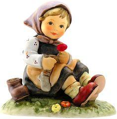 Hummel Figurines - M. Hummels - Let Me Help You - by Matilda - Hummels Goebel Figurines, Japanese Tea Set, Precious Moments Figurines, Perfume Bottles, Dolls, Treasure Hunting, German Recipes, Porcelain Jewelry, Market Bag