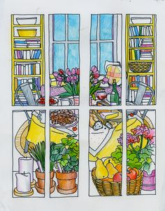 a page from Color Me Cluttered- a coloring book for grownups.