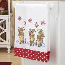 Reindeer Roundup Towel Pair Stamped Cross-Stitch