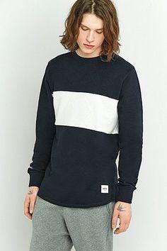 Wemoto Tye Navy and White Chest Panel Long-Sleeve Shirt | Men | Tops | Hoodies & Sweatshirts | Urban Outfitters #UOonYou #UOEurope #UrbanOutfitters #UOMens #Mens