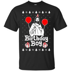 Birthday Boy Jesus Christmas. Product Description We use high quality and Eco-friendly material and Inks! We promise that our Prints will not Fade, Crack or Peel in the wash.The Ink will last As Long As the Garment. We do not use cheap quality Shirts like other Sellers, our Shirts are of high Quality and super Soft, perfect fit for summer or winter dress.Orders are printed and shipped between 3-5 days.We use USPS/UPS to ship the order.You can expect your package to arrive...