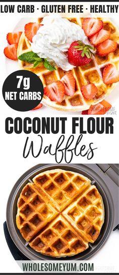 Keto Coconut Flour Waffles Recipe | Wholesome Yum Recipes Using Coconut Flour, Coconut Flour Waffles, Coconut Recipes, Almond Flour, Coconut Flour Desserts, Coconut Flour Brownies, Low Carb Keto, Low Carb Recipes, Cooking Recipes