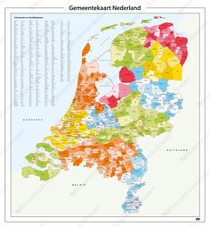 Gemeentekaart van Nederland met hoofdplaatsindex Holland Map, European Map, Geography Map, Topographic Map, Historical Maps, Delft, Netherlands, Diagram, Languages