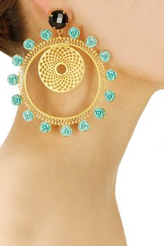Gold plated turquoise flowers mogra hoop earrings available only at Pernia's Pop-Up Shop.