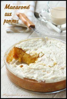 Le Macaroné aux pommes : un gâteau aux pommes très fondant, recouvert d'une fine pâte à macaron croquante