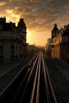 Paris, metro, sunset