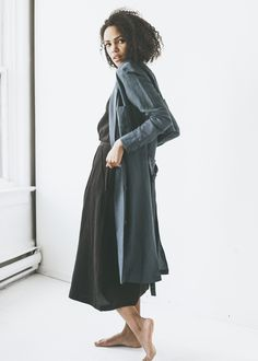 First Rite - Belted Overcoat in Slate from Charlie & Lee | Garmentory
