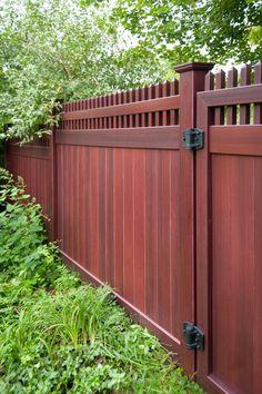 mahogany wood grain pvc vinyl privacy fence illusions 2