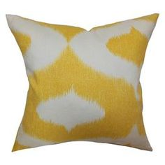 Create a lively atmosphere in your home with this perfectly printed accent, offering eye-catching appeal to your d�cor.�  Product: PillowConstruction Material: Cotton cover and 95/5 down fillColor: YellowFeatures:  Insert includedHidden zipper closureMade in the USA Dimensions: 18 x 18Cleaning and Care: Spot clean