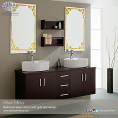 Bathroom silver mirror with gold leaf design, neat and simple looks.