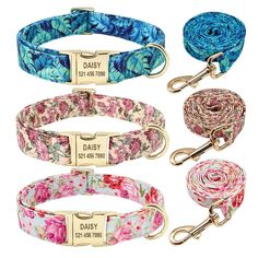 Personalized Dog Collar Leash Set Nylon Floral Print Pet Walking Leash Customized ID Tag - Personalized Dog Collar Leash Set Nylon Floral Print Pet Walking Leash Customized ID Tag - Pet Dogs, Dog Cat, Personalized Dog Collars, Dog Clothes Patterns, Dog Collars & Leashes, Pet Id, Collar And Leash, Metal Buckles, Dog Accessories