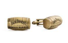 3D Replica Jack Daniel's Single Barrel Antique Brass Barrel Shaped Cufflinks
